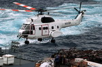 A Eurocopter SA 330 Puma from the USNS Concord carries supplies to the USS Nimitz in the Pacific on 1 April 2008. (USN/Matthew J Lanes)