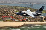 A US Navy S-3B Viking flies over Coronado Bridge in San Diego Bay, California. (USN/Photographer's Mate 2nd Class Timothy Smith)