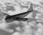 A Boeing 377 Stratocruiser of 1947 in flight. The aircraft had seating for 55, or 100 with sleeping deleated. Stratocruisers were the last piston-powered airliners built by Boeing. (Boeing)