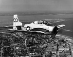 A T-28B Trojan from the US Navy's Advanced Training Unit 800 over Corpus Christi, Texas, around 1955.