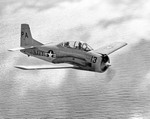 A T-28 Trojan over the Gulf of Mexico.