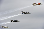 Four T-28 Trojans from the Trojan Horsemen Warbirds Aerobatic Formation Demonstration Team perform at the Airpower over Hampton Roads show at Langley Air Force Base on 14 May 2011. (USAF/Senior Airman Zachary Wolf)