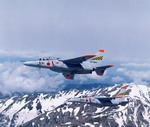 Two Japanese Air Self Defence Force T-4s in flight. (Japanese Ministry of Defence)