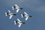 T-4s of the Japanese Air Self Defence Force Blue Impulse display team perform during Friendship Day celebrations at USMC Air Station Iwakuni on 5 May 2009. (USMC/Lance Corporal Jacqueline Diaz)