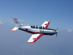 The Fuji T-7 is a Japanese development of the Beech T-34 Mentor. (Copyright JASDF)