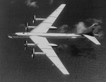 A Tupolev Tu-95 'Bear'  as seen from above.  Entering service in 1956, the Bear is still in service with Russia. (DoD)
