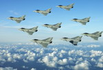 Typhoons from the Royal Air Force's 3rd, 17th and 29th Squadrons perform a 'Diamond Nine' formation over the Lincolnshire coast in November 2006.
