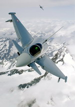 Two Austrian Eurofighter Typhoons fly above the snow capped Alps. (Eurofighter)