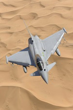 A RAF Eurofighter Typhoon from 3 (F) Squadron flies over the Dubai desert. The aircraft was in Dubai for an airshow. (Eurofighter)