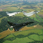 Threey Eurofighter Typhoons on the way to the Farnborough air show in 2002. (Eurofighter)