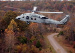 A Sikorsky MH-60S Knighthawk from the US Navy's Helicopter Combat Support Squadron 6 over Fort Knox during training on 20 October 2004. (USN/Photographer's Mate 1st Class Steven Harbour)