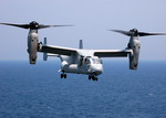 An MV-22 Osprey from Mrine Medium Tiltrotor Squadron 263 (VMM-263) hovers off the USS Iwo Jima on 22 July 2008. (USN/Mass Communication Specialist 1st Class Daniel A Taylor)