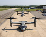 V-22 Ospreys sit on the ramp at Naval Air Station Patuxent River on 1 May 2003. (USN)