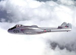 A Royal Canadian Air Force Vampire in flight on 6 January 1953. The Vampire was the RCAF's first jet fighter.