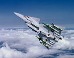 Saab J37 Viggen (Thunderbolt) showing off its weapons. (Copyright Saab AB)