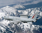A Royal Australian Air Force Boeing 737 AWACS over the Cascades (Image Copyuright Boeing)