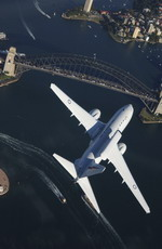 A Wedgetail from the Royal Australian Air Force's 2 Squadron flies over Sydney Harbour Bridge on 15 March 2005. (Australian DoD)