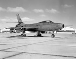 A Republic XF-91 Thunderceptor as seen in March 1951. The XF-91 was powered by rockets and a turbojet engine and with the rockets could reach a maximum speed of 1 800 km/h. (NASA)