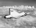 The Convair XF-92A in flight in 1953. The XF-92 was the first delta-winged aircraft in America. (NACA/NASA)