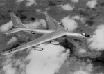 The Convair YB-60 prototype eight-jet bomber making its maiden flight on 18 April 1952. The YB-60 was a modification of the B-36 but lost out to the more capable Boeing B-52.