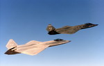 The two Northrop/McDonnell Douglas YF-23 prototypes in flight.  (USAF)