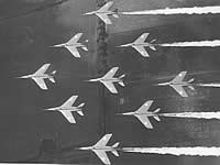 Red Arrows Gnats in Diamond Nine formation